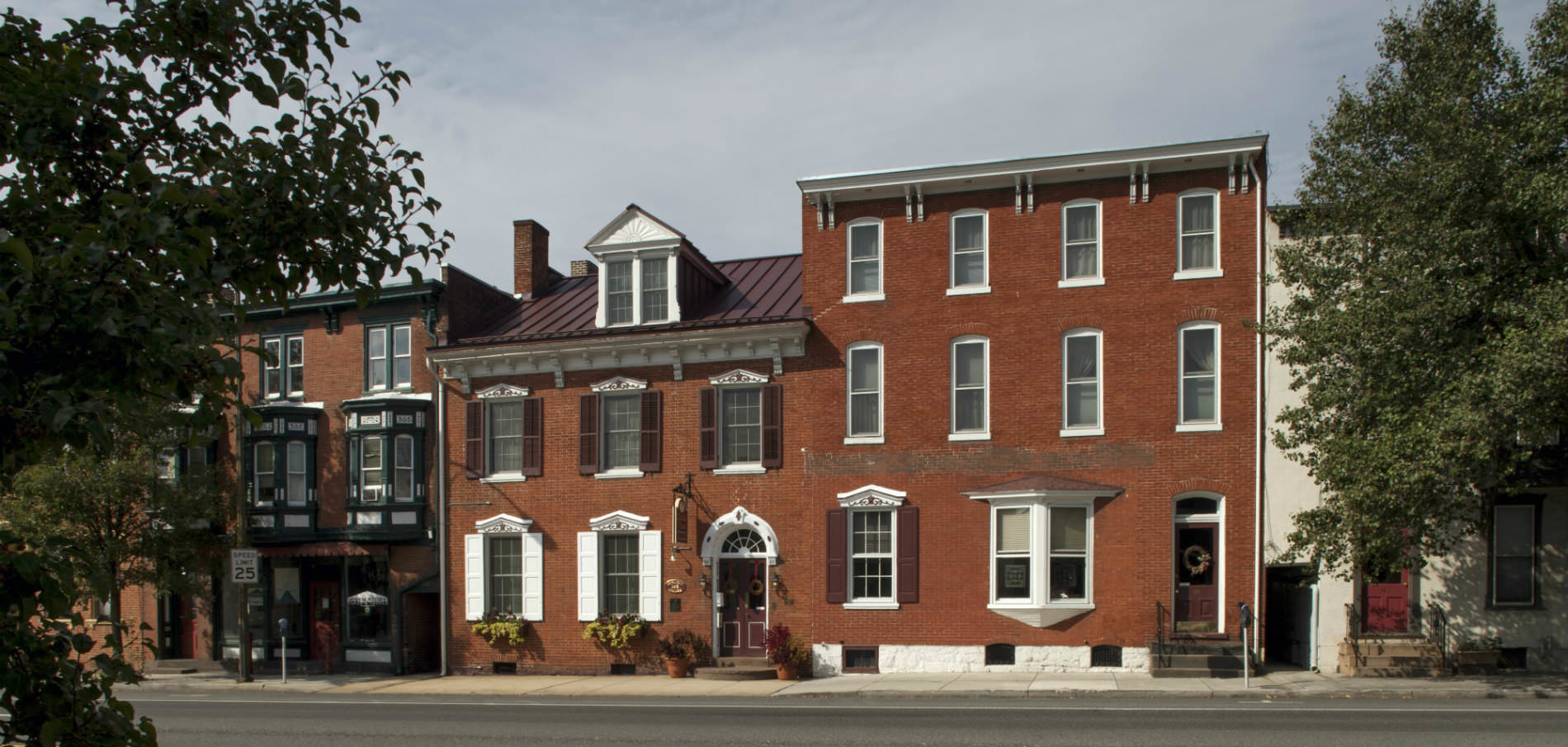 exterior facade of historic brick inn