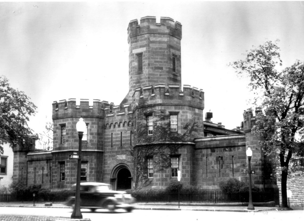 Black and white photo of old castle-style prison in downtown Carlisle PA